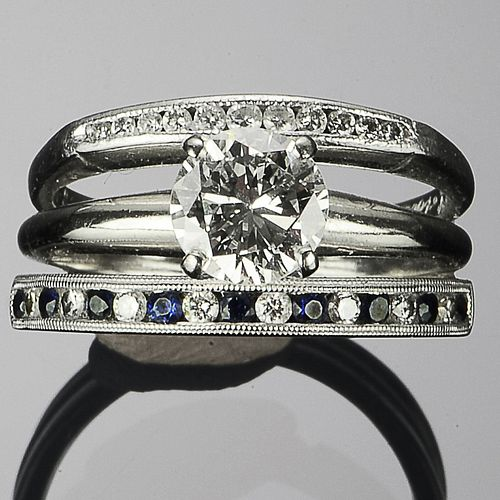 Platinum, Gold, and Diamond Triple-Layered Ring