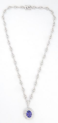 14K White Gold Link Necklace, each of the 34 swirled pierced links mounted with small round diamonds, suspending a pendant with an o...