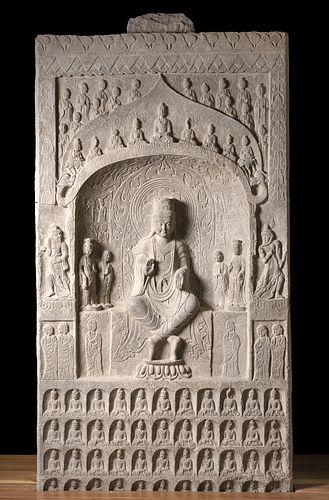 6th C. Chinese Wei Stone Stele - Buddha Amithaba