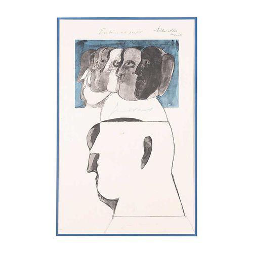 José Luis Cuevas. En torno al perfil. Firmada. Litografía II I/ XXX. 56 x 38 cm. Con documento de Grupo Misrachi.