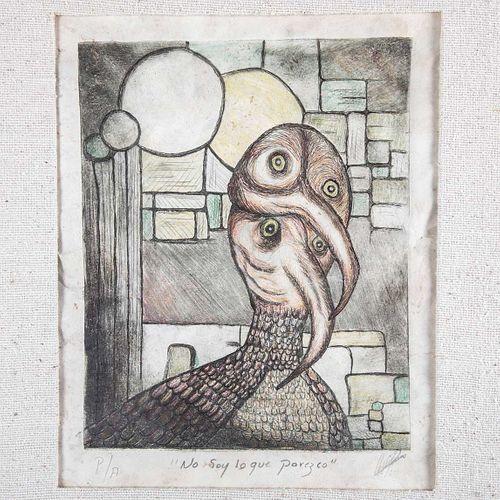 Alejandro Quijano. No soy lo que parezco. Grabado, P/A. Firmado. Enmarcado. 24 x 19 cm
