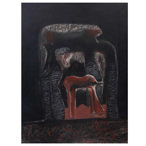 R. Rosas. Sin título. Litografía con técnica mixta. Firmada y fechada 84. Enmarcada. 65 x 50 cm