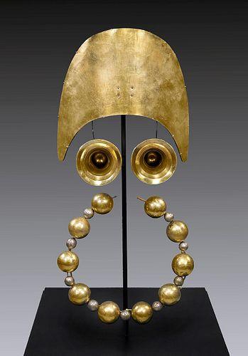 Moche 18K Gold Tumi Crown, Ear Ornaments, & Bead Strand
