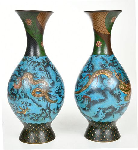 Pair of Asian Cloisonne Figural Dragon Vases