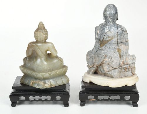 Two Chinese Carved Soapstone Figures of Buddha