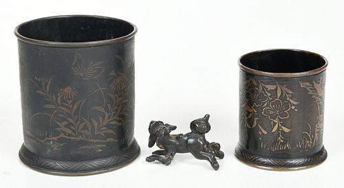 Two Japanese Bronze Brush Pots and Figure