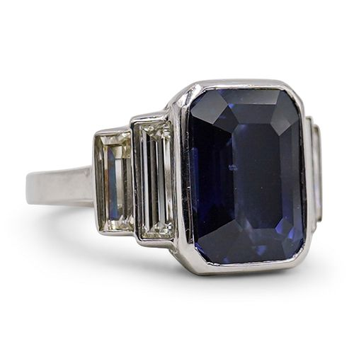 Platinum 7.96ct Ceylon Sapphire & Diamond Ring