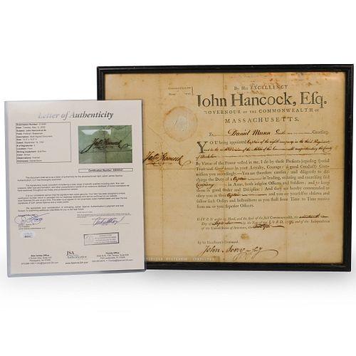 John Hancock Signed Military Appointment Document (JSA LOA)