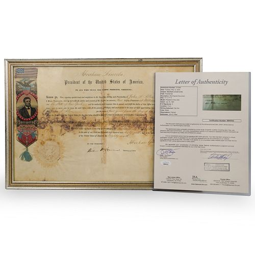 Abraham Lincoln Signed New York Postmaster Appointment Document (JSA LOA)