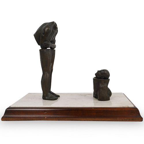"""Leo Vinci """"Looking At Myself"""" Bronze Sculpture"""