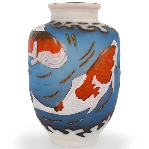 French Cameo Glass Koi Fish Vase
