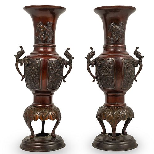 Pair Of Meiji Bronze Vase