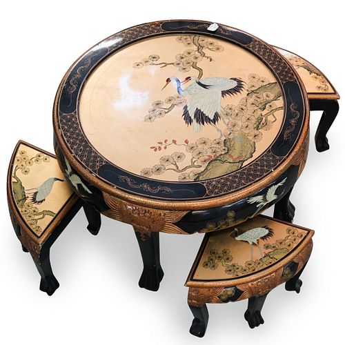 (5 Pc) Japanese Hand Painted Lacquered Table