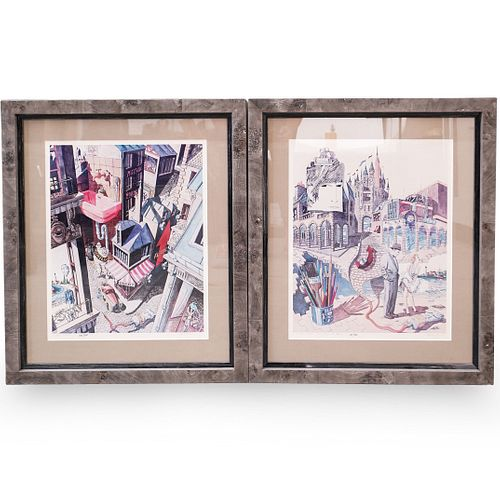 Pair of Limited Edition Lithographs by Y.B. Martin