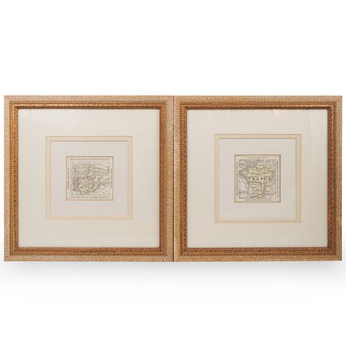 (2 Pc) Engraved Maps of Spain and France