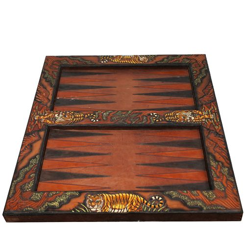Leather Wrapped Backgammon Game Board