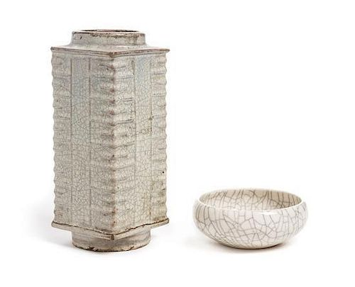 * Two Chinese Ge-Type Crackle Glazed Articles Height of tallest 7 3/4 x width 4 1/4 inches.