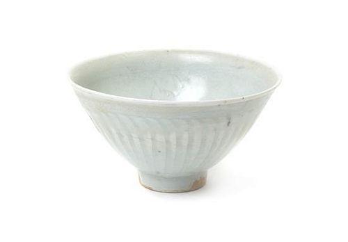 A Small Qingbai Glaze Carved Porcelain Bowl Diameter 4 3/8 inches.