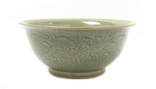 A Longquan Style Celadon Glazed Bowl Diameter 12 7/8 inches.