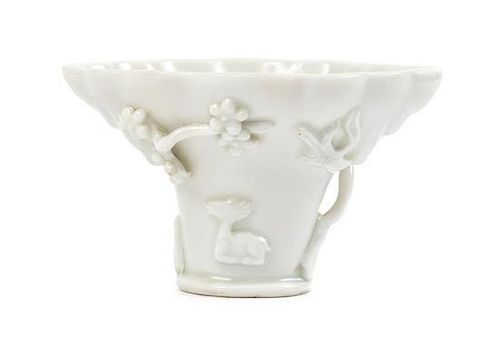 A Blanc-de-Chine Porcelain Libation Cup Height 2 3/8 inches.