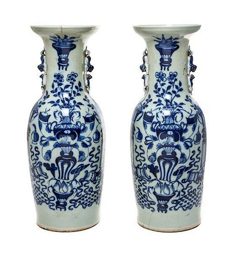 A Pair of Blue and White Porcelain Vases Height 22 1/2 inches.