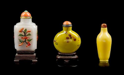 * Three Glass Snuff Bottles Height of tallest overall 3 3/8 inches.