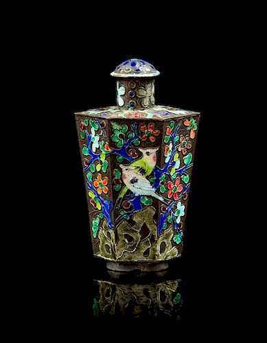 * A Cloisonne Enamel Snuff Bottle Height 3 1/8 inches.