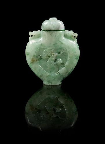 * A Jadeite Snuff Bottle Height 2 3/8 inches.