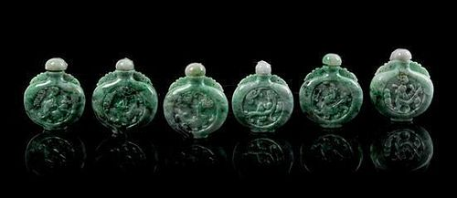 * A Group of Six Jadeite Snuff Bottles Height of tallest 2 1/2 inches.