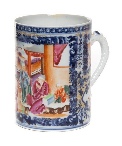 * A Chinese Export Porcelain Mug Height 4 1/2 inches.
