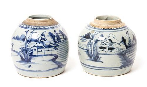 * A Pair of Chinese Export Porcelain Jars Height 6 1/2 inches.