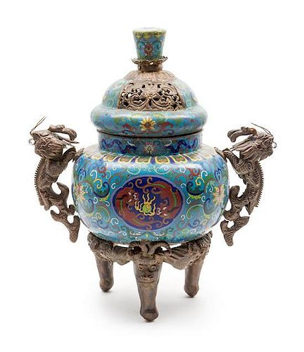 A Cloisonne Enamel Censer Height 19 inches.