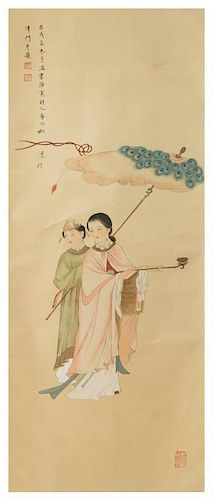 An Ink and Color on Silk Scroll Height of scroll 76 x 19 1/2 inches.