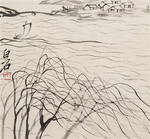 A Chinese Scroll Painting, after Qi Baishi Height of image 12 1/2 x width 13 1/4 inches.