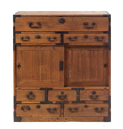 A Japanese Wood Tansu Height 30 x width 32 x depth 16 1/4 inches.