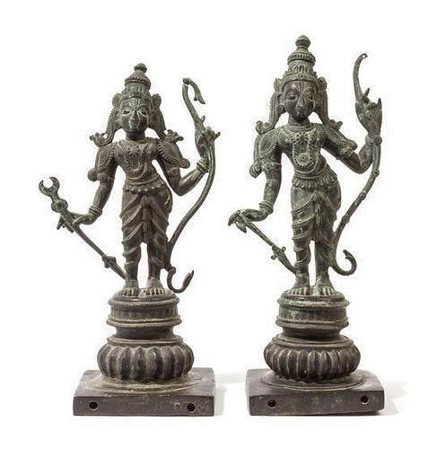 A Pair of Indian Bronze Figures of Deities Height of pair 18 1/4 inches.