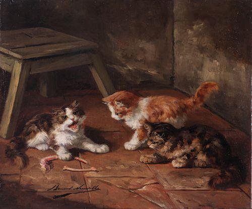 "Brunel de Neuville ""Playful Kittens"" Oil on Canvas"