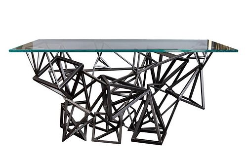 1970s Custom Geometric Metal Table