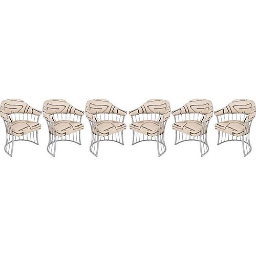 Set of Six Polished Chrome Dining Chairs by Chromecraft