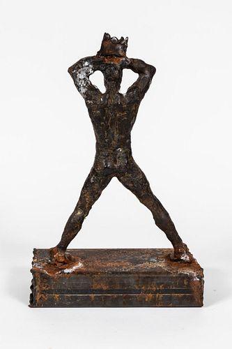 Figurative Metal Sculpture Reminiscent of Basquiat