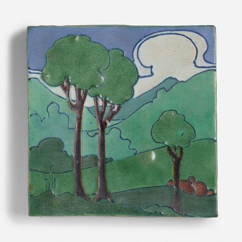Frederick Hurten Rhead for Arequipa Pottery, Rare landscape tile