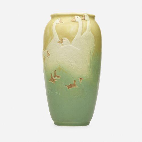 Kataro Shirayamadani for Rookwood Pottery, Modeled Mat vase with geese