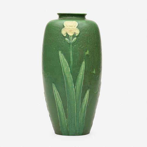 Grueby Faience Company, vase with irises