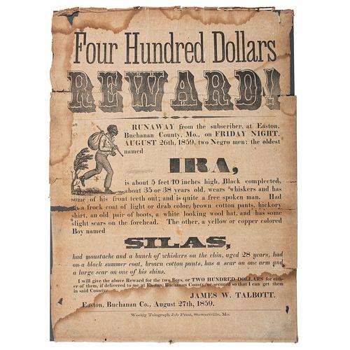 Illustrated Reward Broadside for Enslaved Runaway, Easton, Missouri, 1859