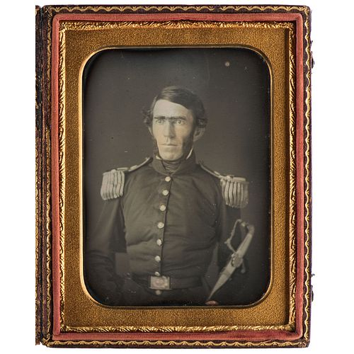 Previously Unknown Quarter Plate Daguerreotype of Career Army Officer and CSA General Braxton Bragg