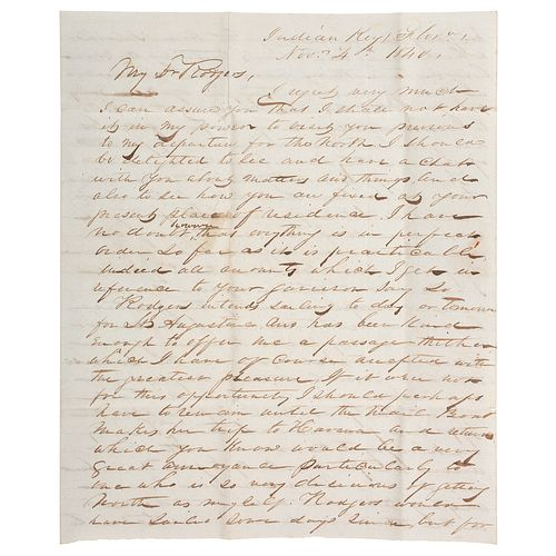 USN Archive Featuring Correspondence of Christopher Raymond Perry Rodgers, Incl. Mexican War, Indian War, and Civil War Content