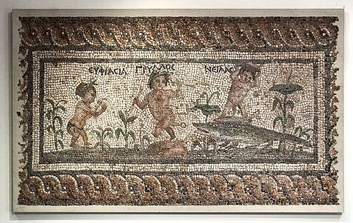 Important Roman Mosaic Nilotic Scene, 3 Pygmies