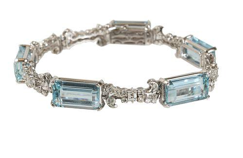 H. Stern, Vintage Diamond and Aquamarine Bracelet
