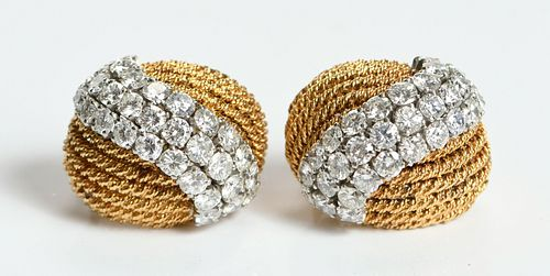 David Webb Platinum, 18kt. and Diamond Earclips