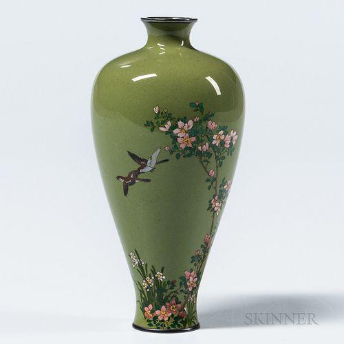 Small Olive Green Cloisonné Vase